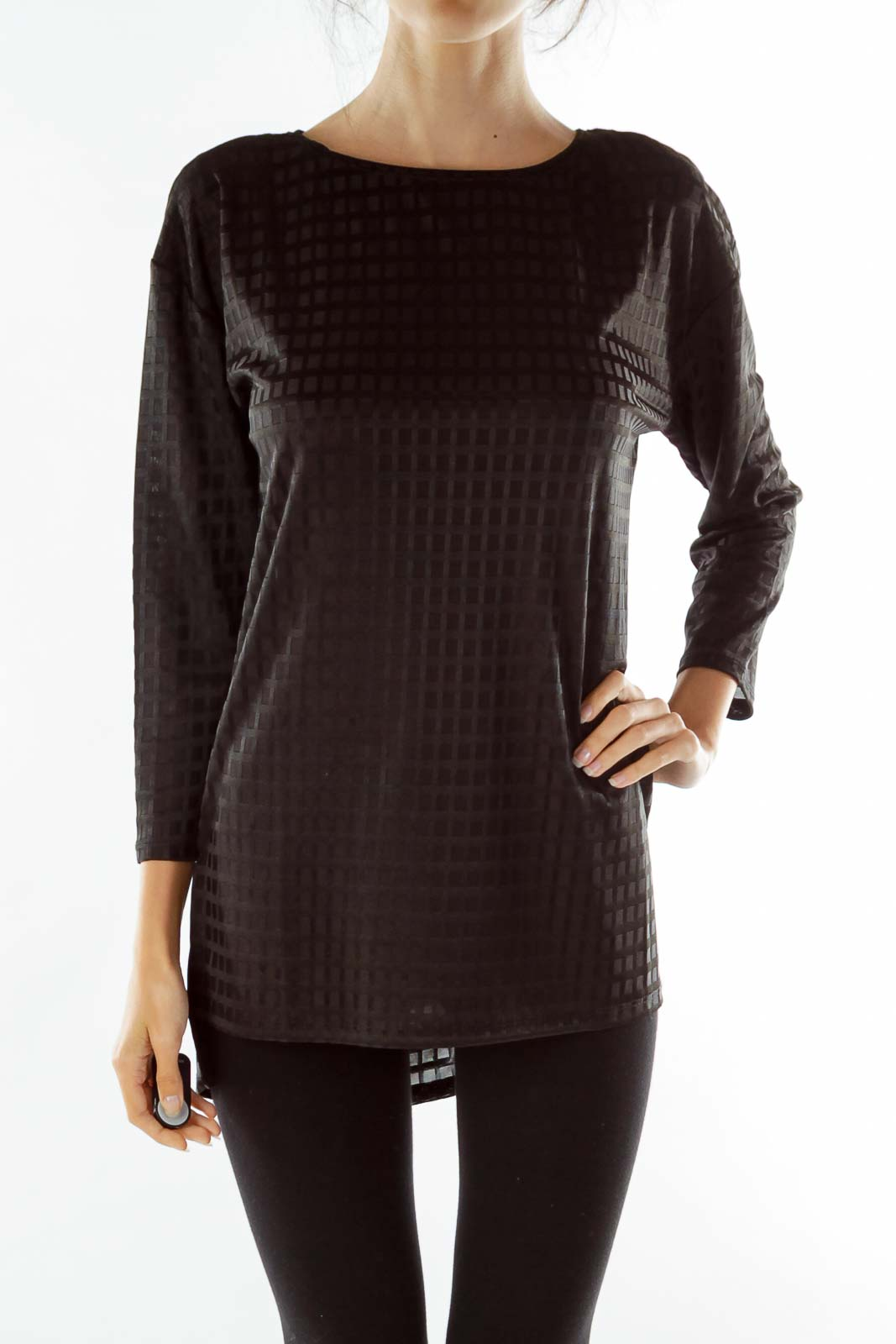 Black Sheer Square Textured Tunic Front