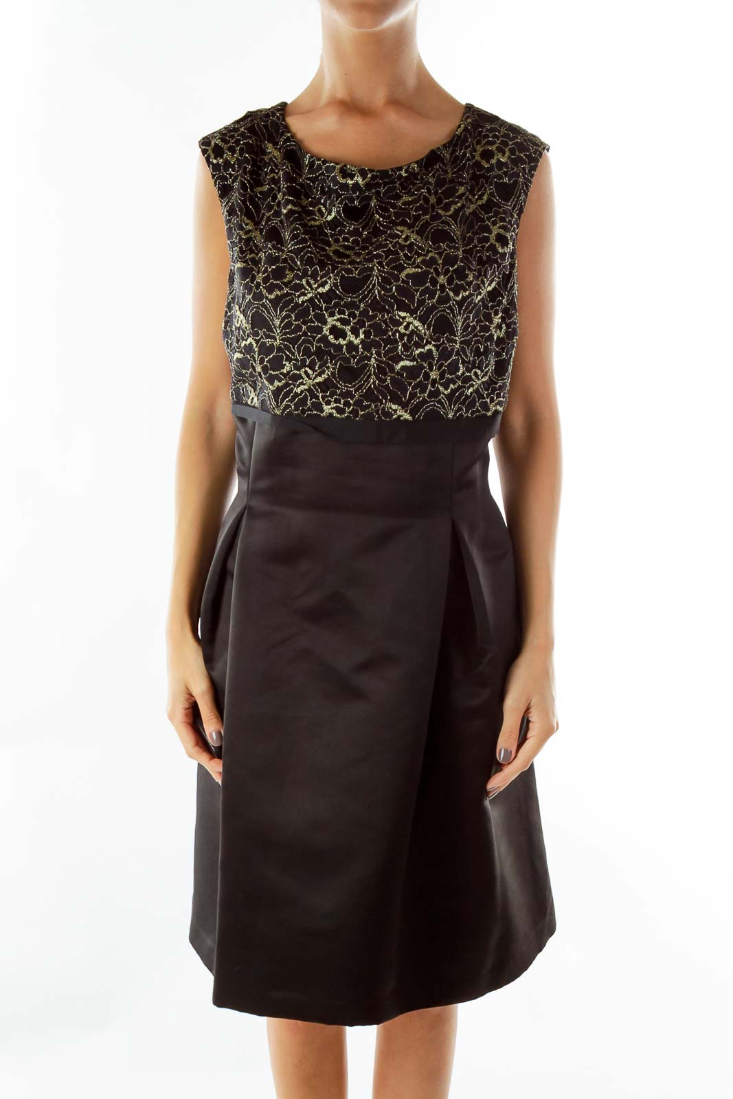Black Gold Sparkly Lace A-Line Dress Front