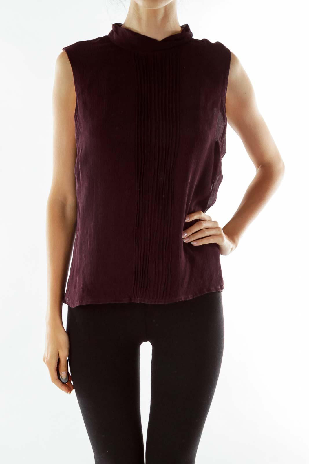 Purple Pleated Sleeveless Tunic Front