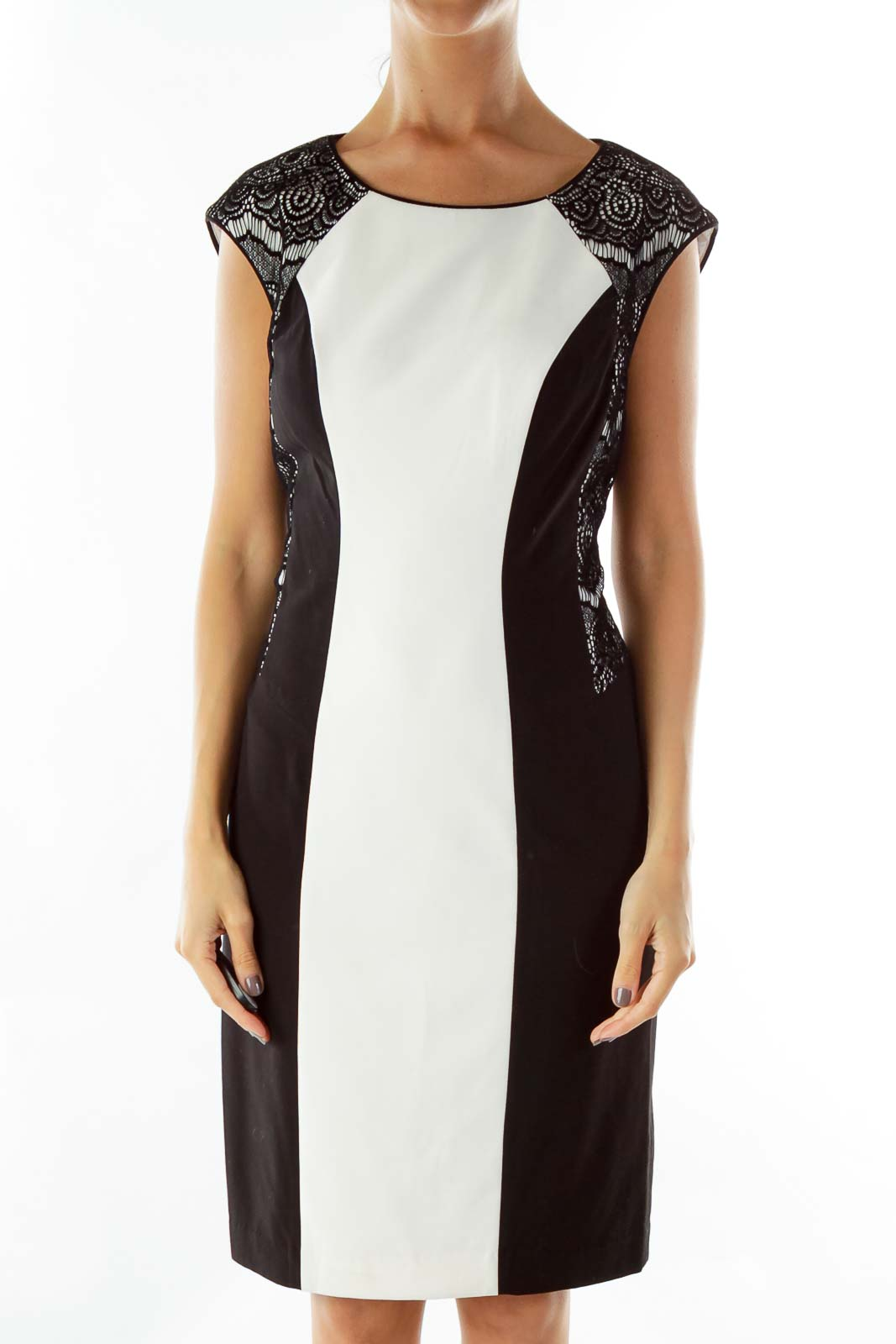 Black White Body Con Cocktail Dress Front