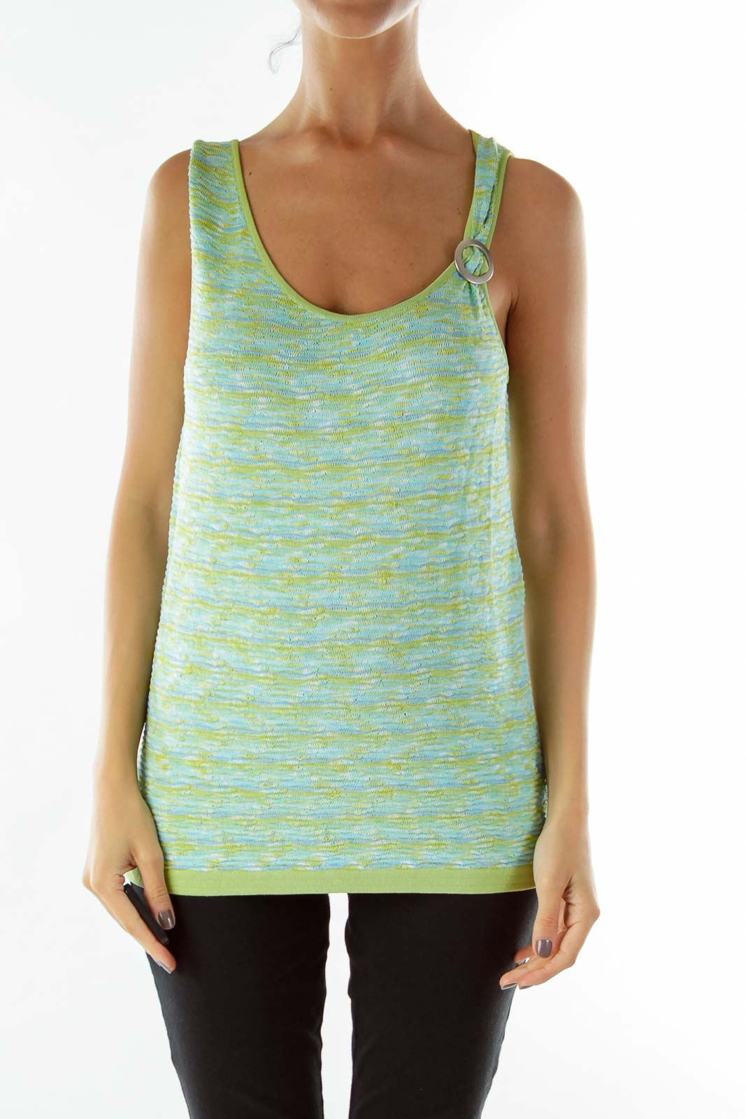 Green Blue Knit Top Front