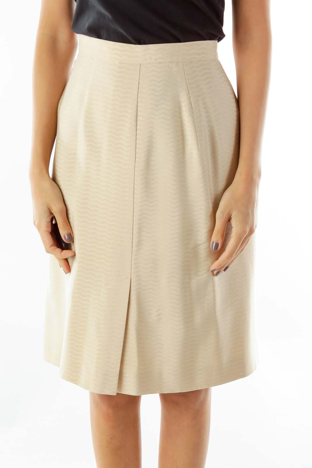 Beige Designer Pencil Skirt Front