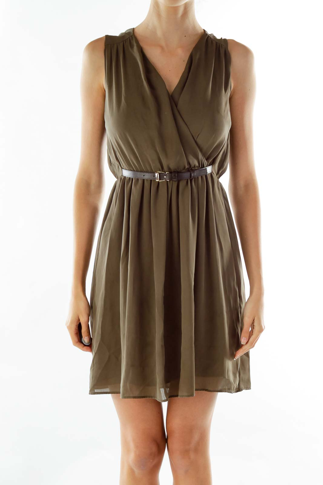 Green Flared Belted Dress Front