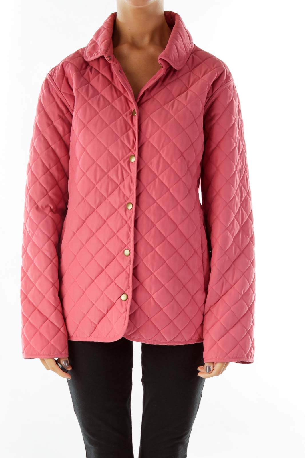 Pink Quilted Coat Front