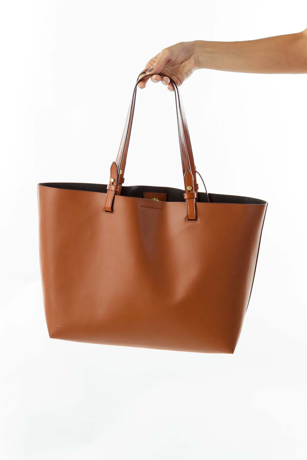Brown Leather Bag w/ Pocket Front
