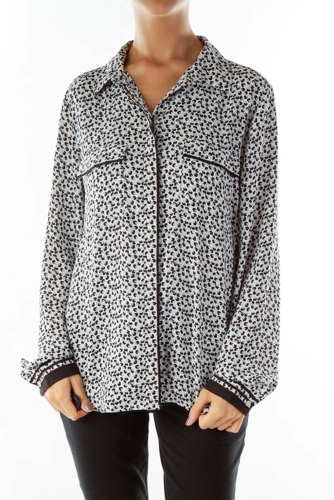 Black Gray Floral Print Shirt Front