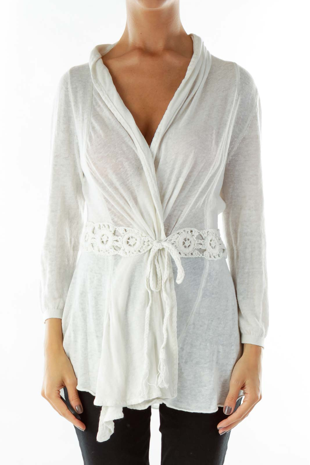 White Embroidered Braid Belt Cardigan Front