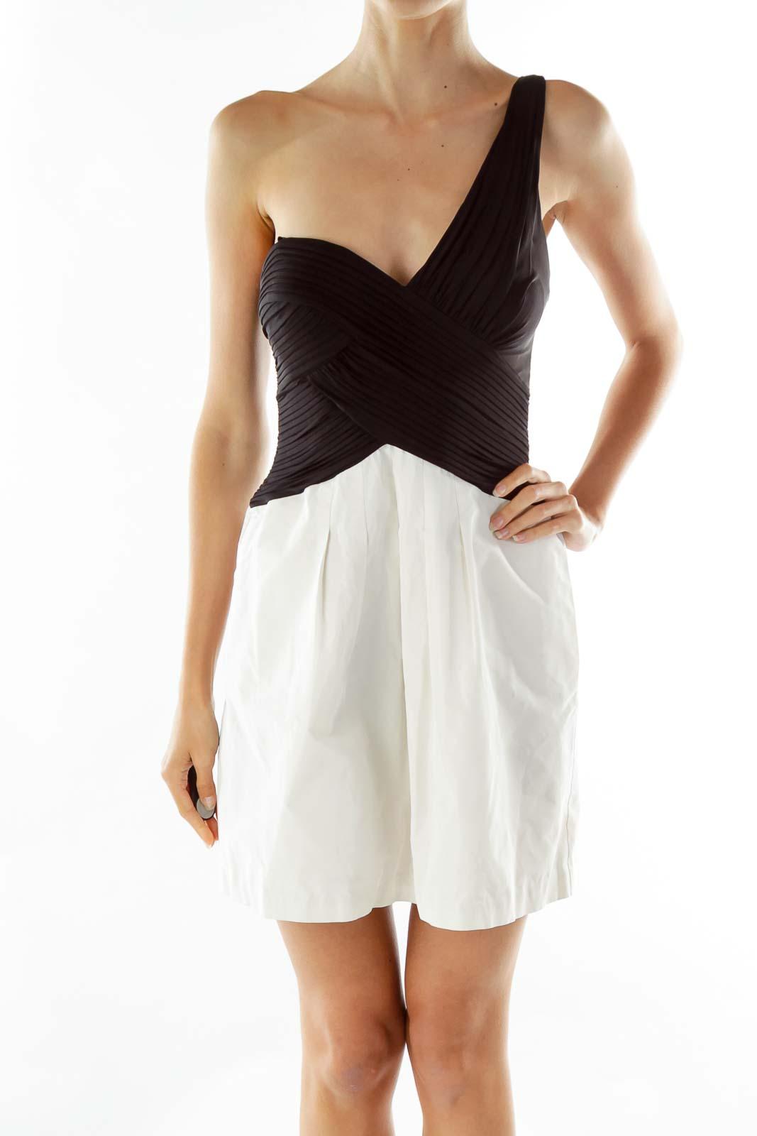Black White Ruffled Bustier Dress Front