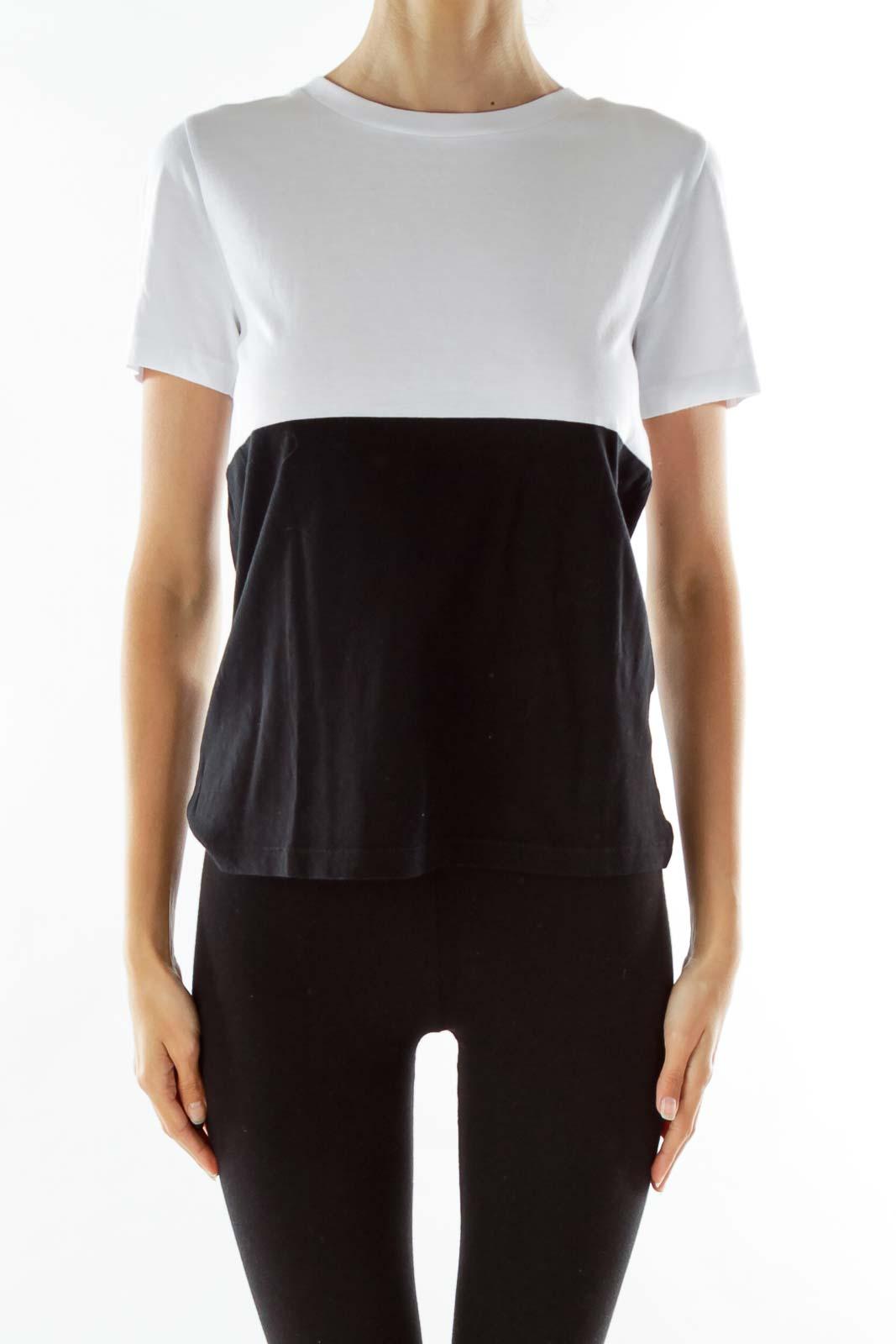 Black White Block T-Shirt Front