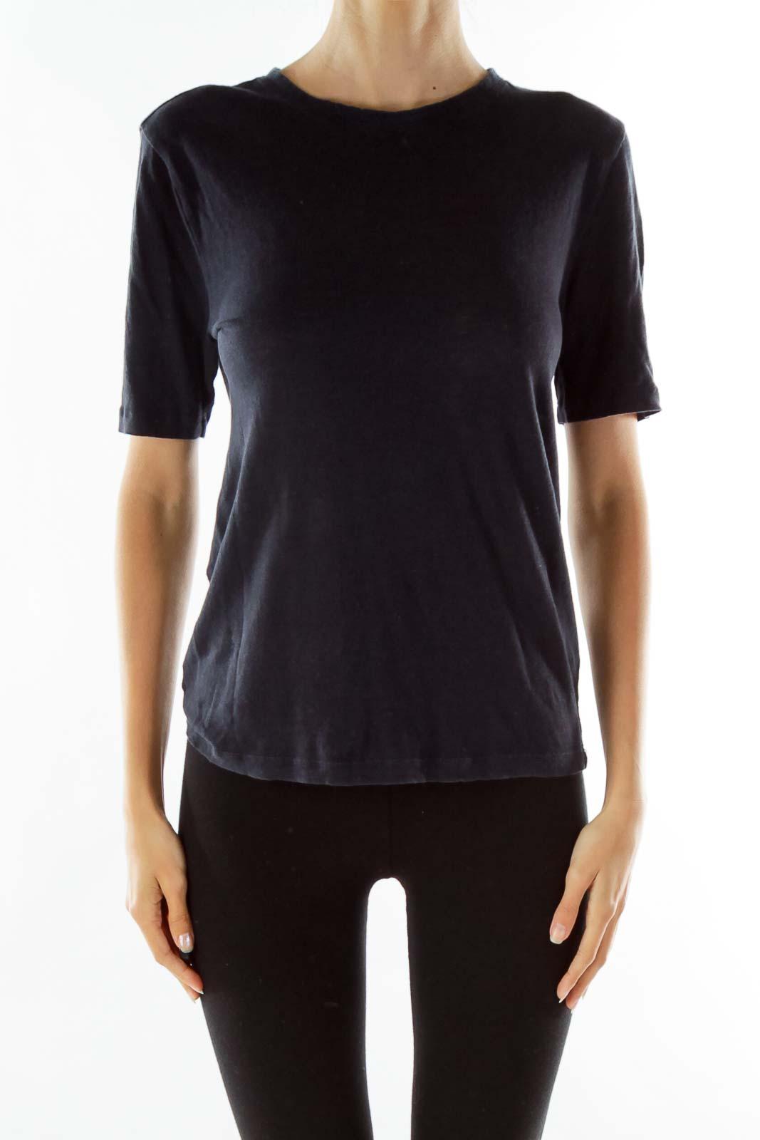 Navy Round Neck T-shirt Front