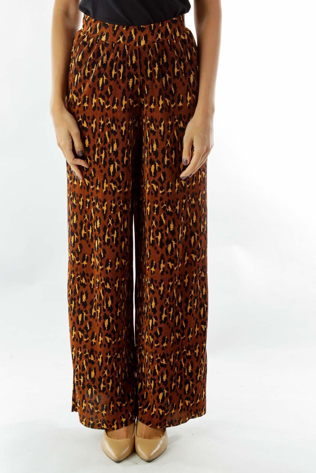 Brown Wide-Leg Leopard Print Pants Front