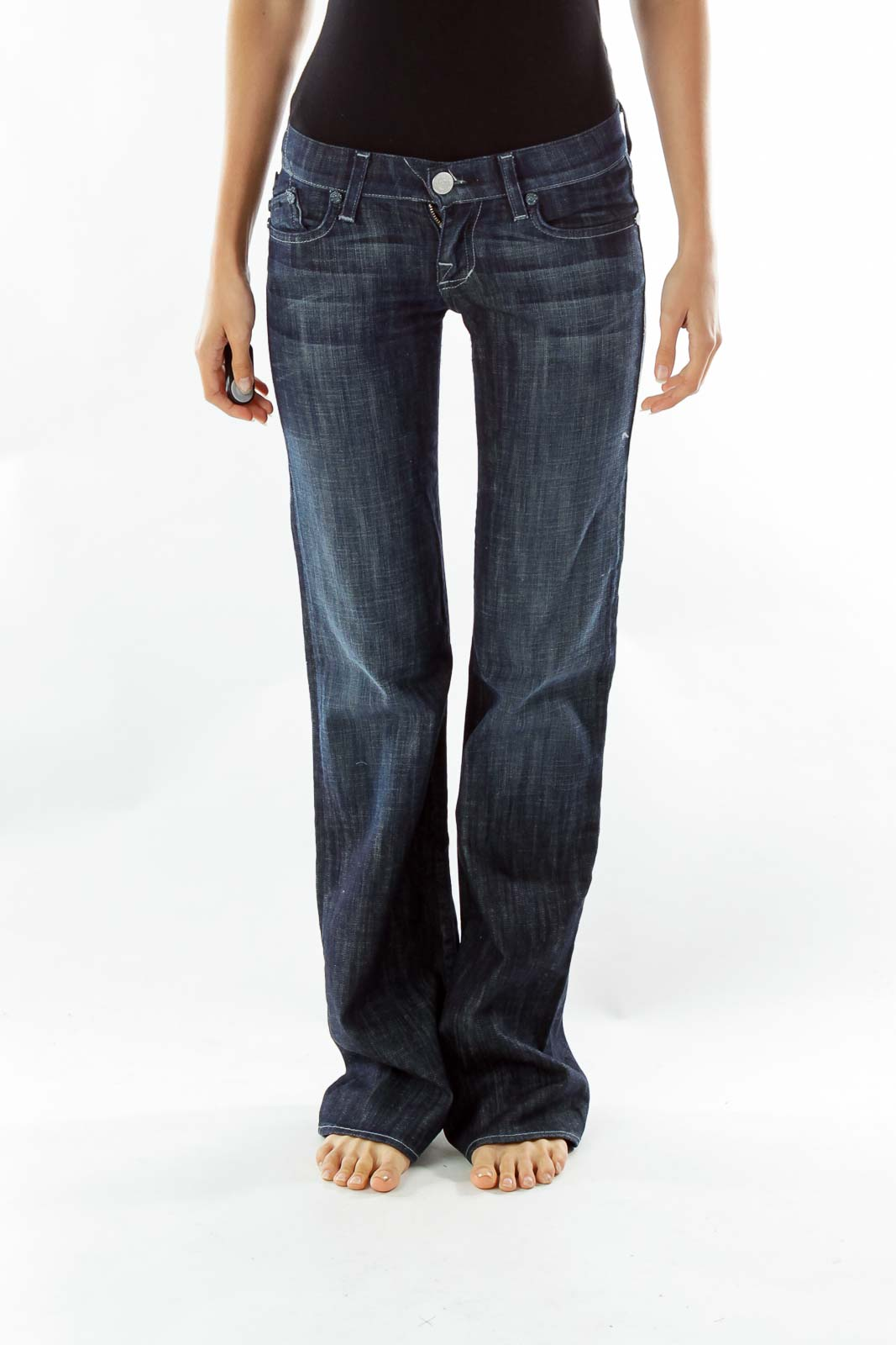 Navy Embroidered Flared Jeans Front