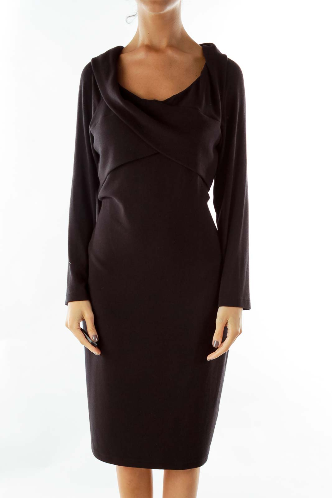 Black Asymmetric Dress Front