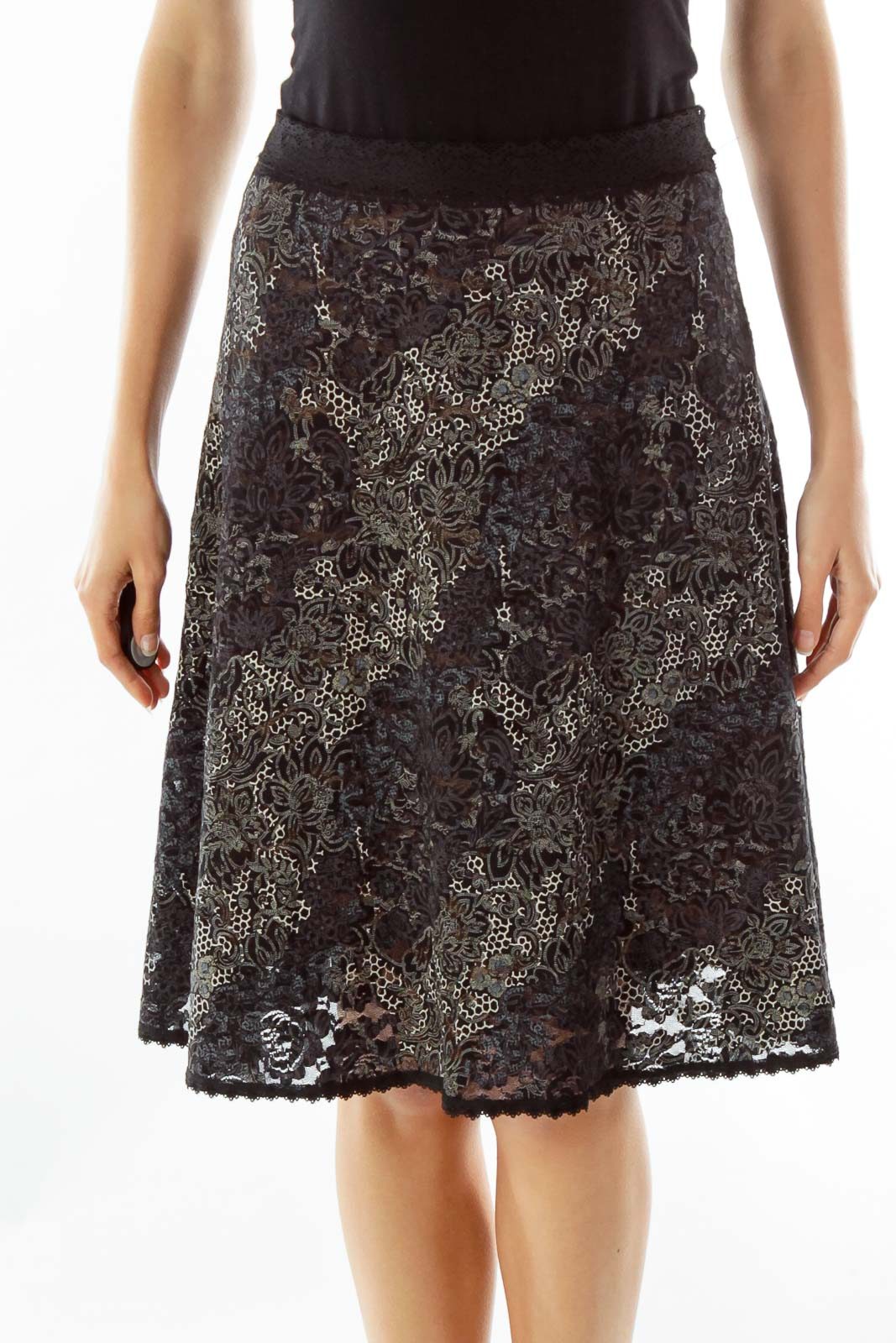 Black White Lace Embossed Print Skirt Front