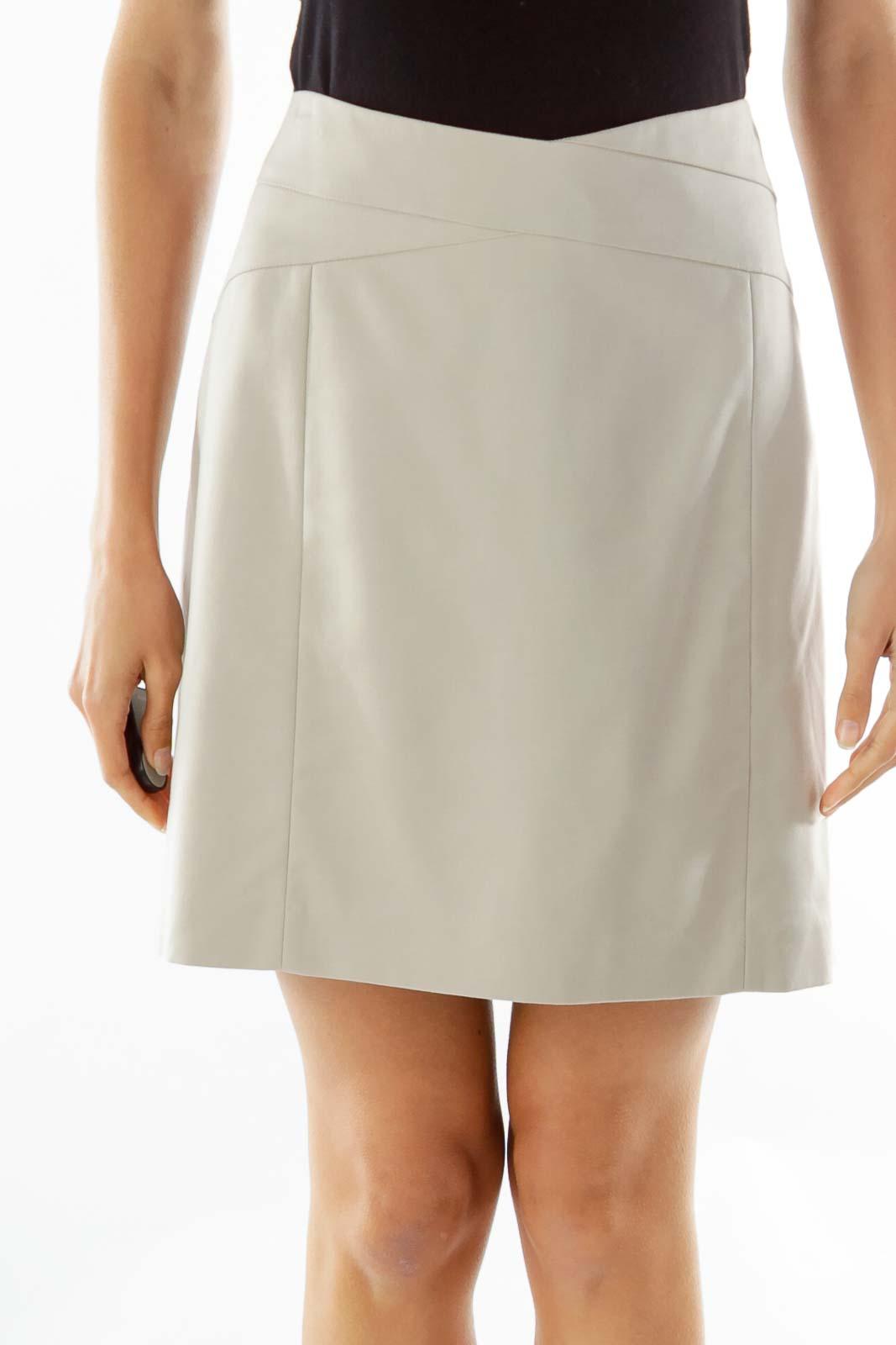 Beige Pencil Work Skirt Front