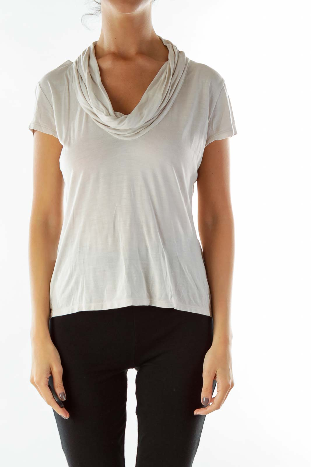 Cream Loose Cowl Neck T-Shirt Front