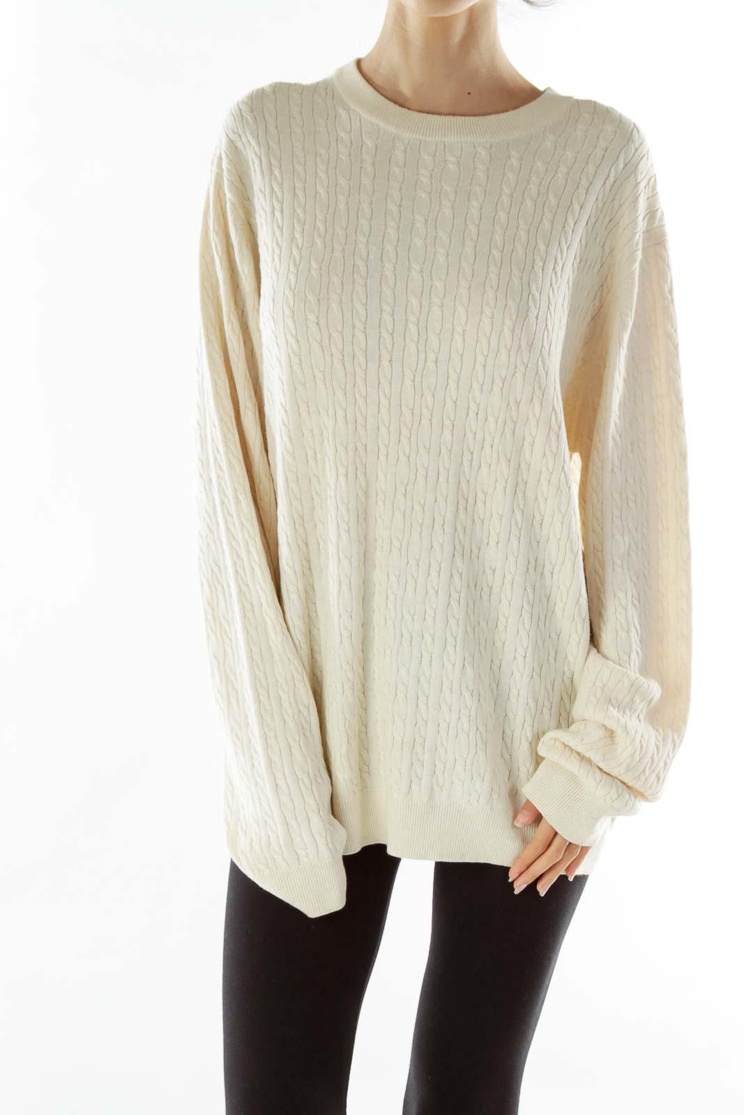 Cream Woven Merino Wool Sweater Front