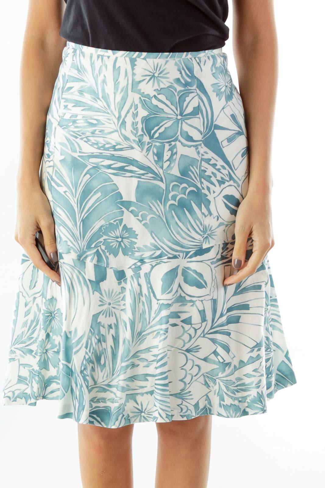 Blue White Print A-Line Skirt Front