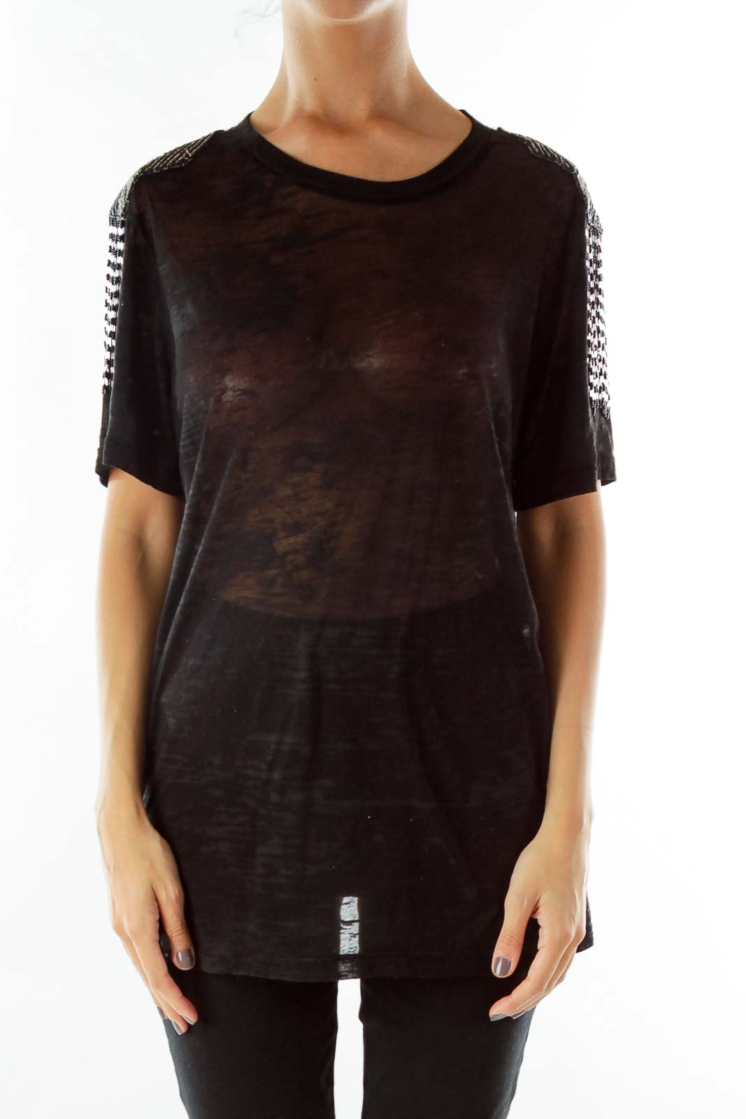 Black Beaded See-Through T-Shirt Front