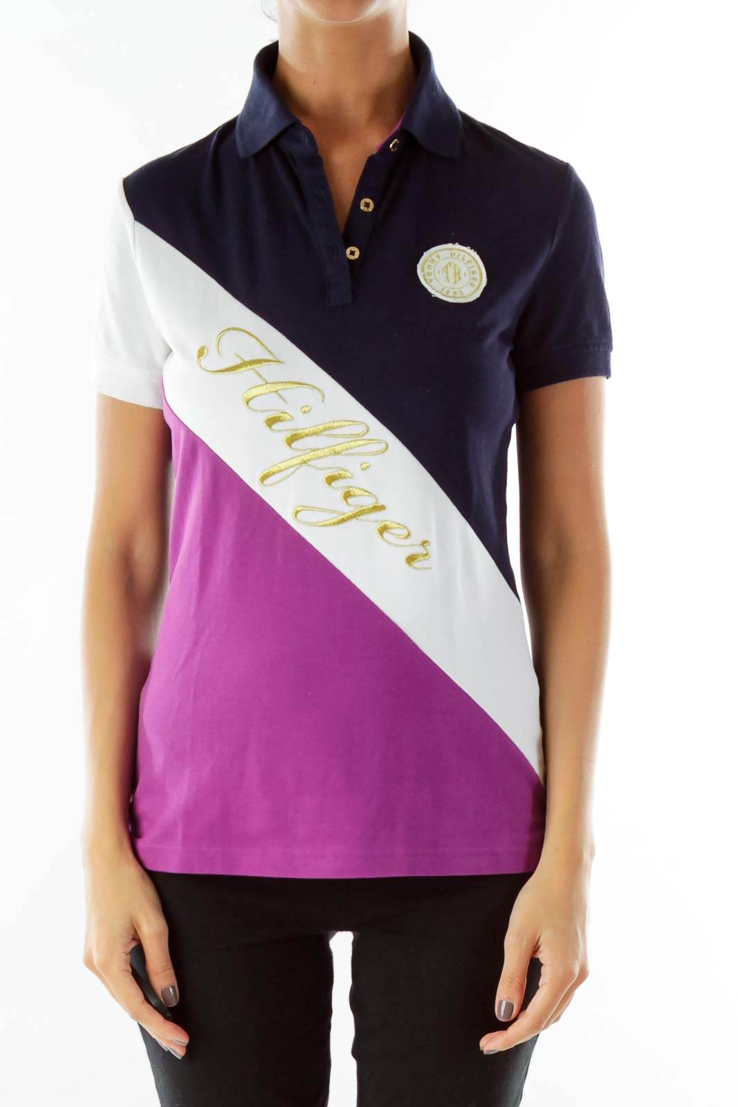 Navy Purple Gold Monogrammed Polo Shirt Front