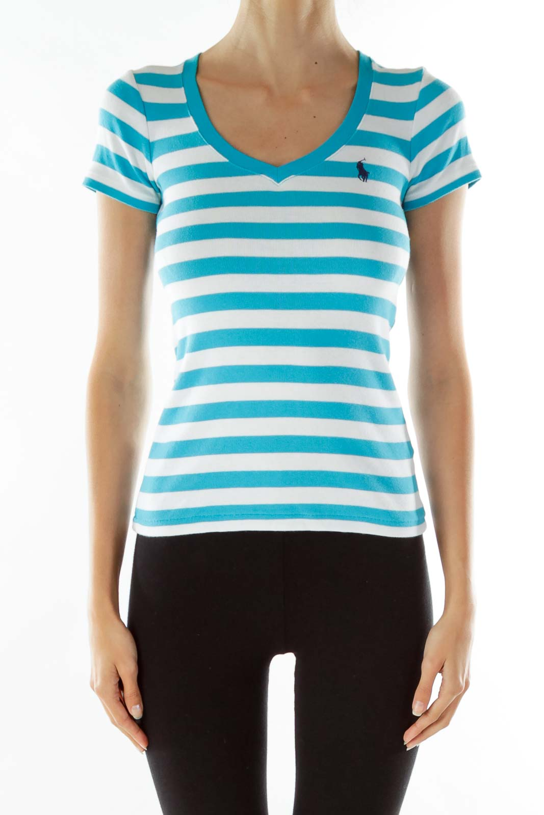 Blue White Striped V-Neck T-shirt Front