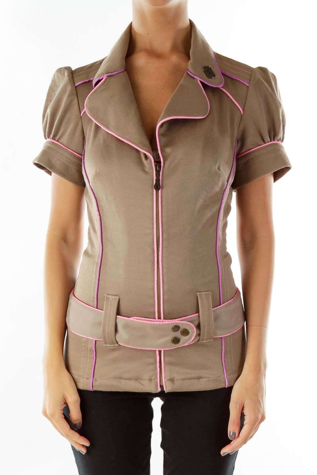 Brown Pink Lined Belted Short Sleeve Jacket Front