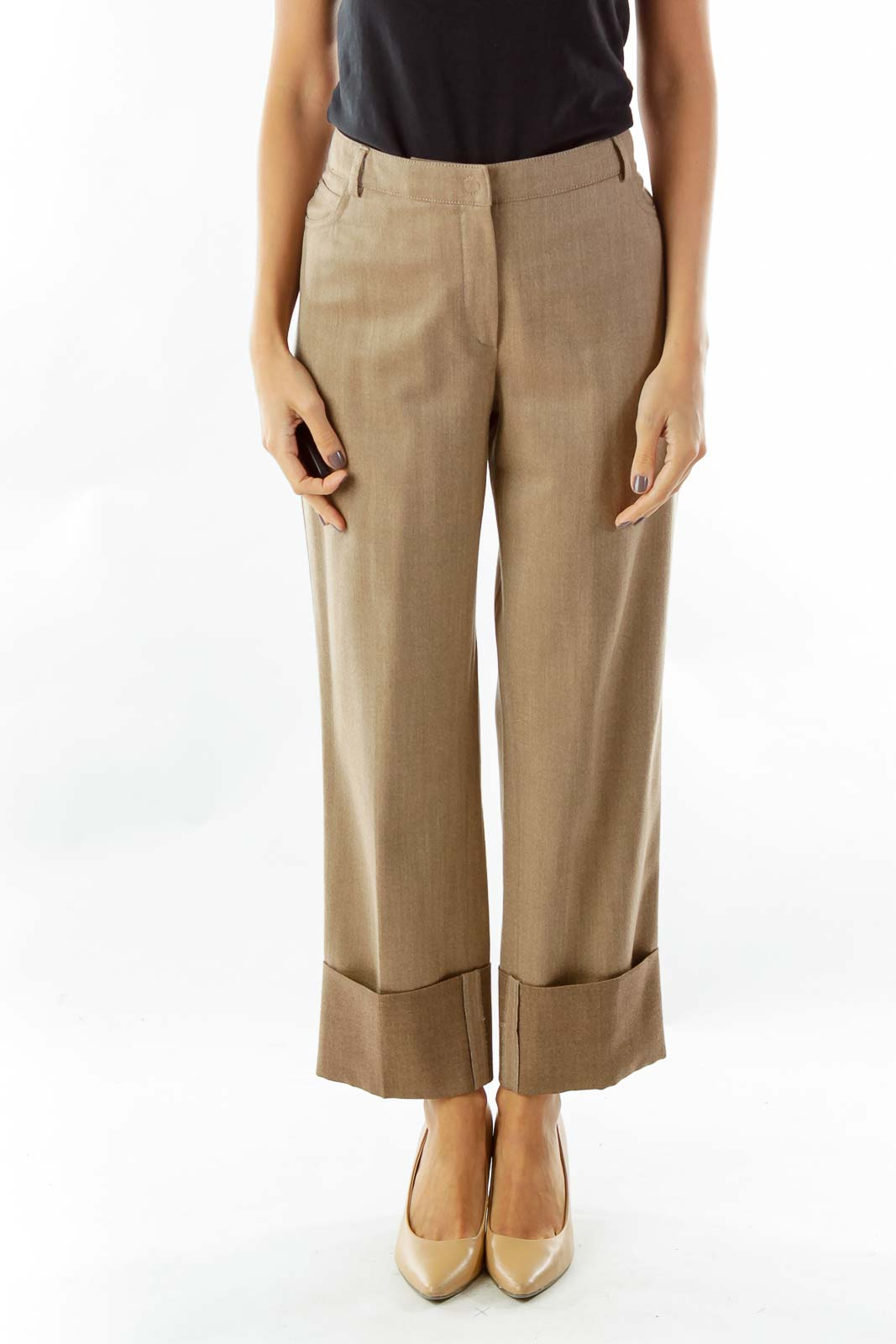Brown Pocketed Straight-Leg Pants Front