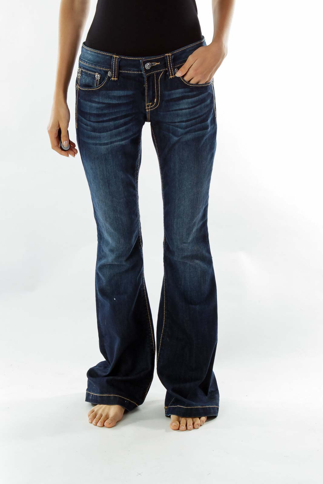 Navy Flared Jeans Front