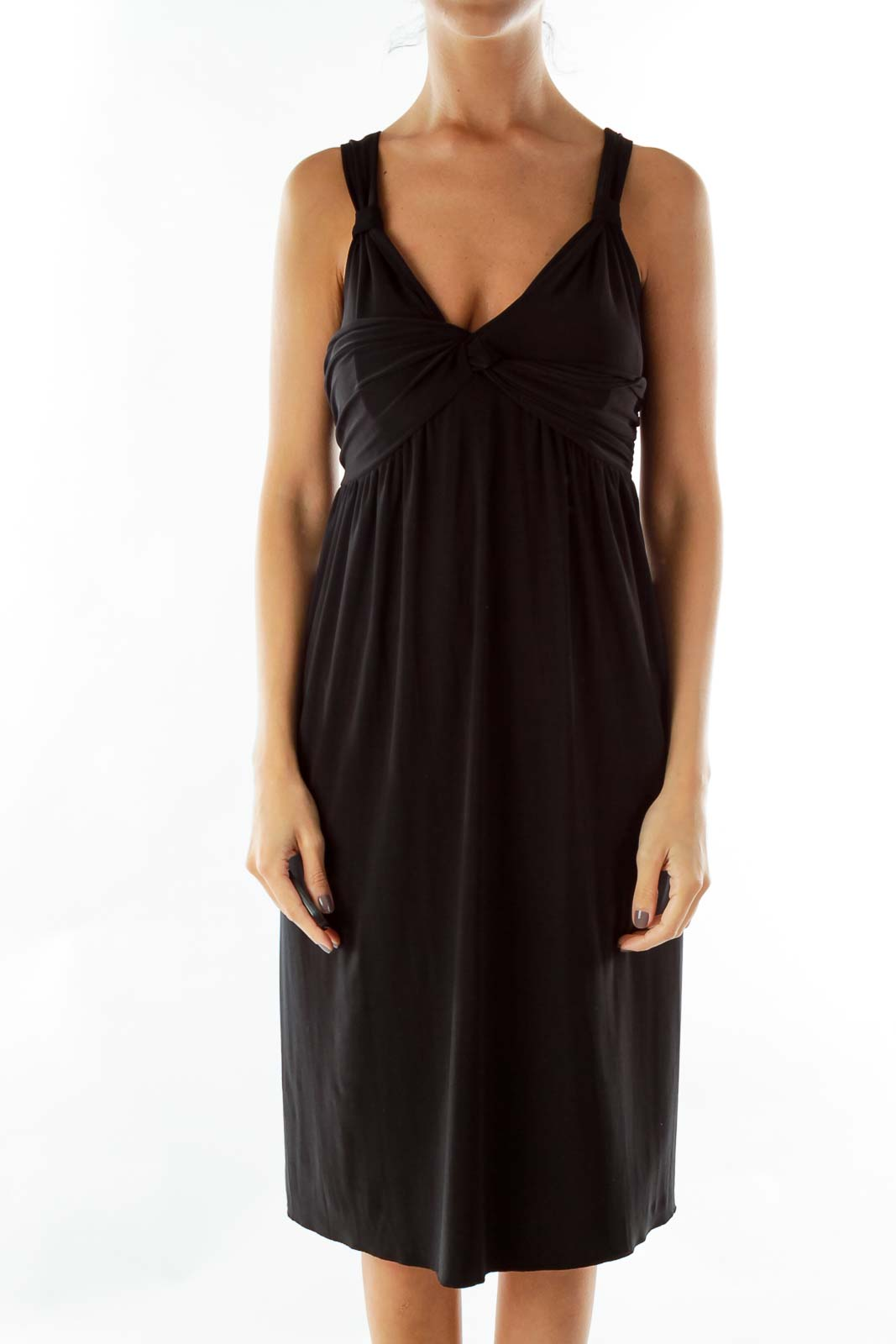 Black Knot Loose Dress Front
