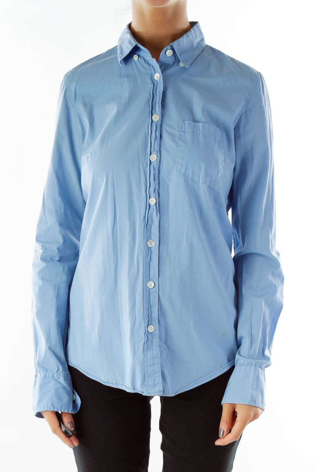 Blue Pocketed Shirt Front
