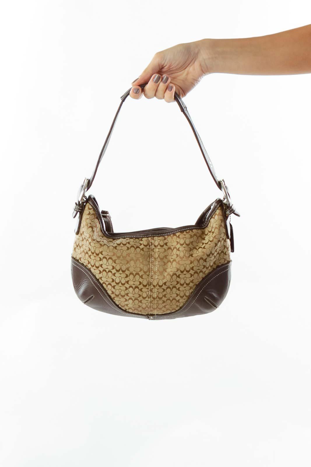 Brown Monogrammed Shoulder Bag Front