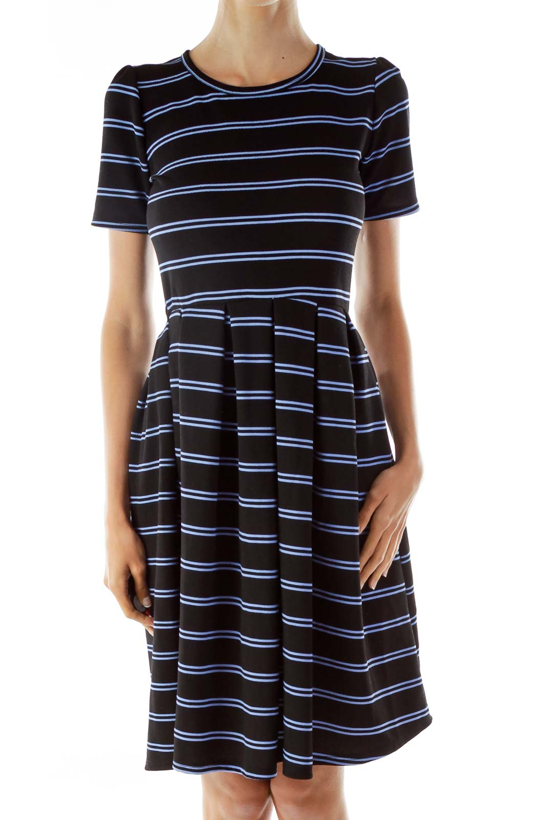 Navy Striped Day Dress Front