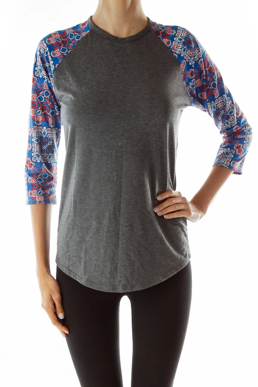 Gray Printed 3/4 Sleeve Shirt Front