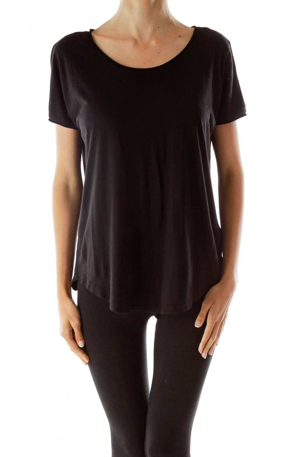 Black Loose Fit Blouse Front