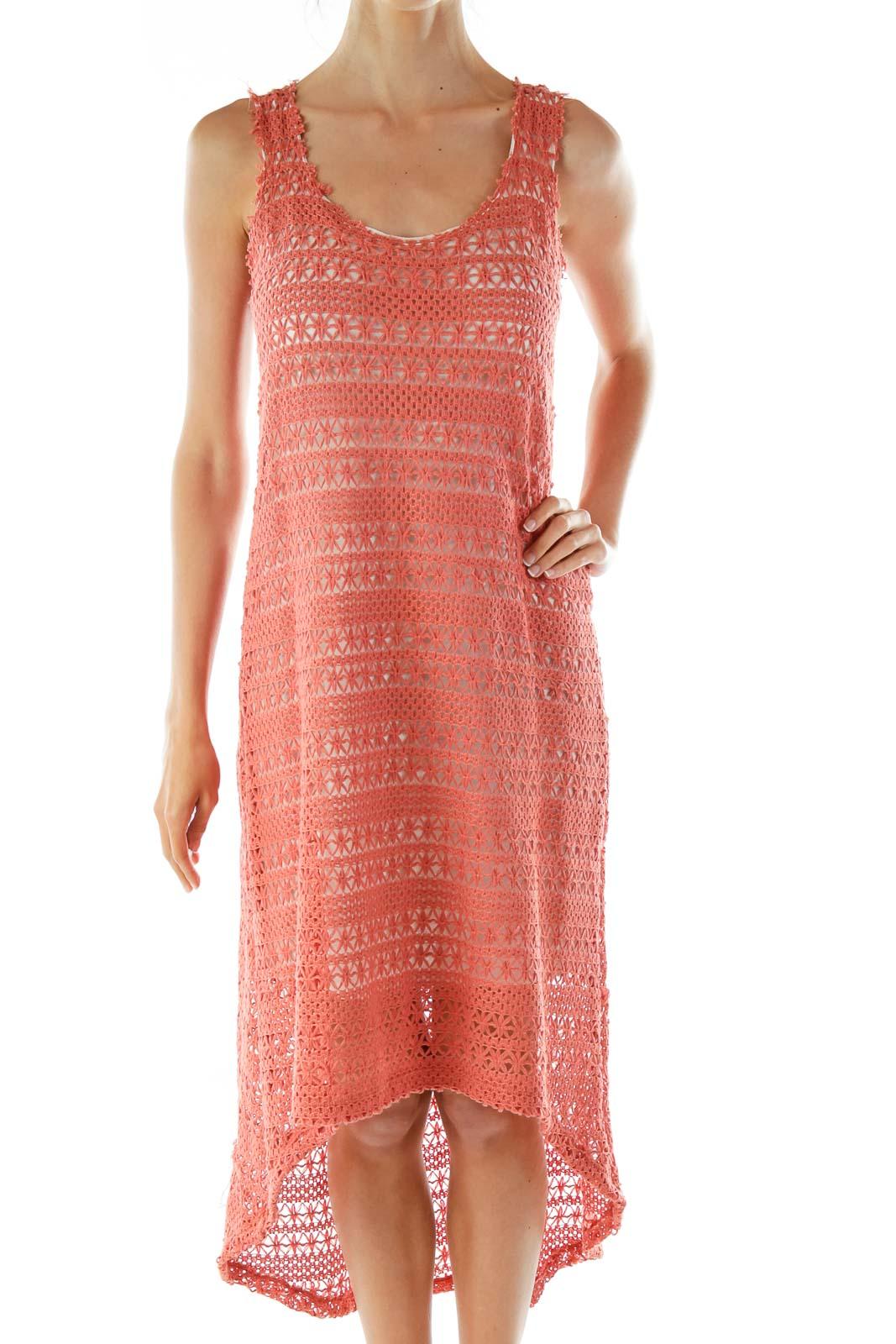 Pink Knit Shift Dress Front