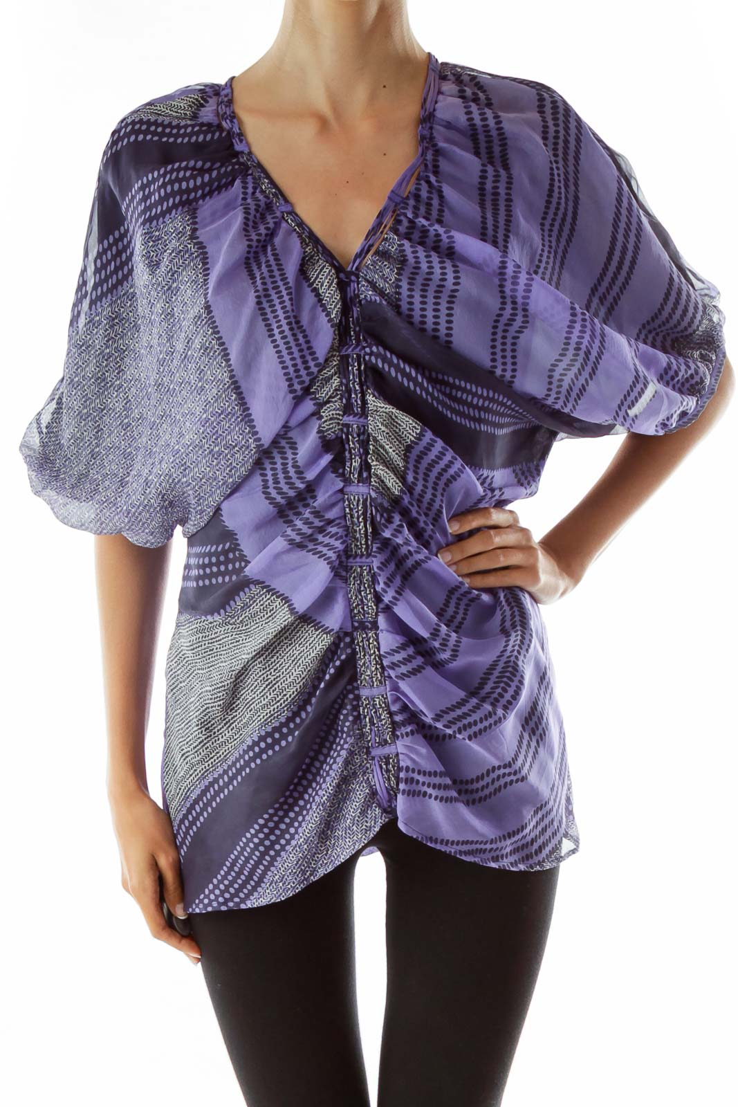 Purple Black Print Scrunched Blouse Front