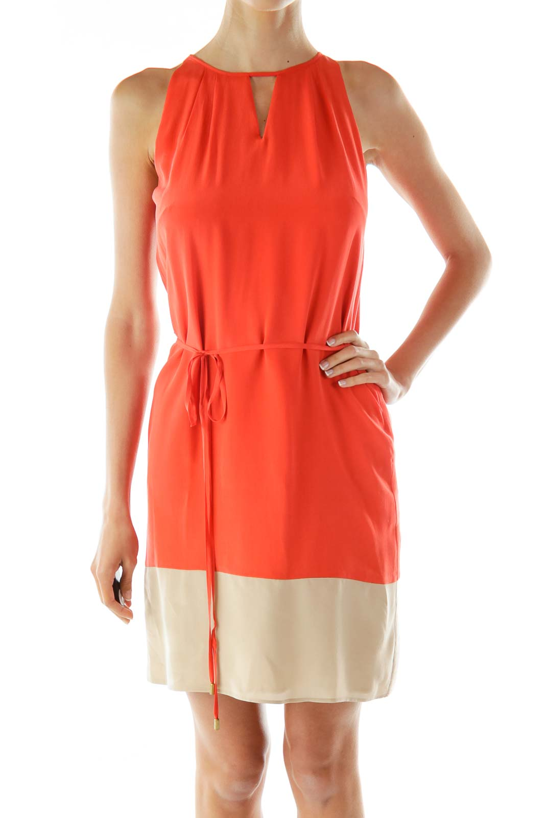Orange Beige Color Block Day Dress Front