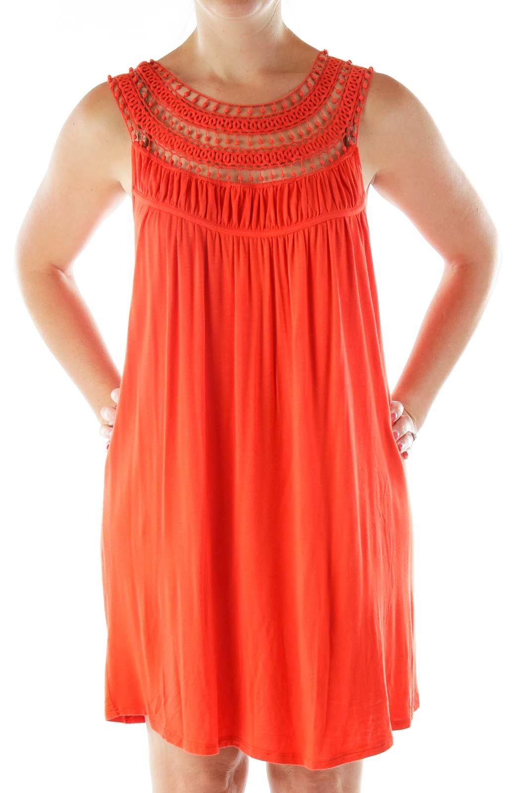 Orange Crocheted Day Dress Front