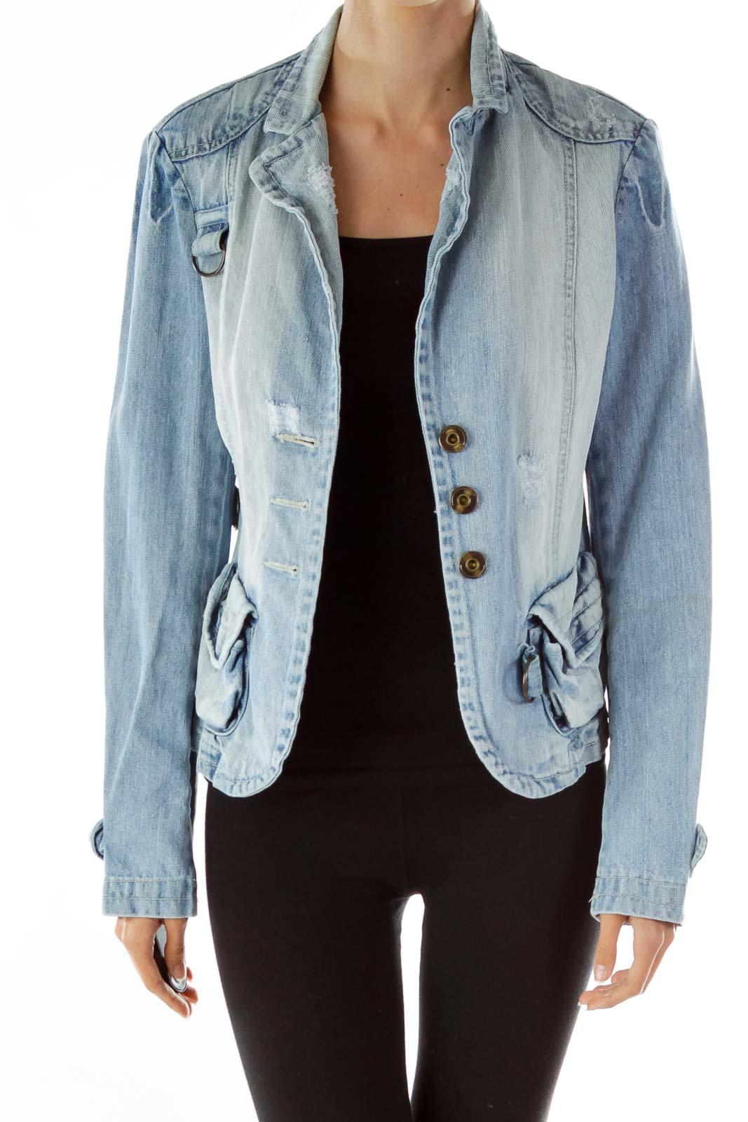 Designer Denim Fitted Jacket Front