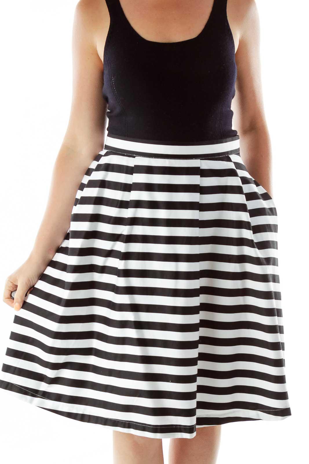 Black White Striped Flared Skirt Front