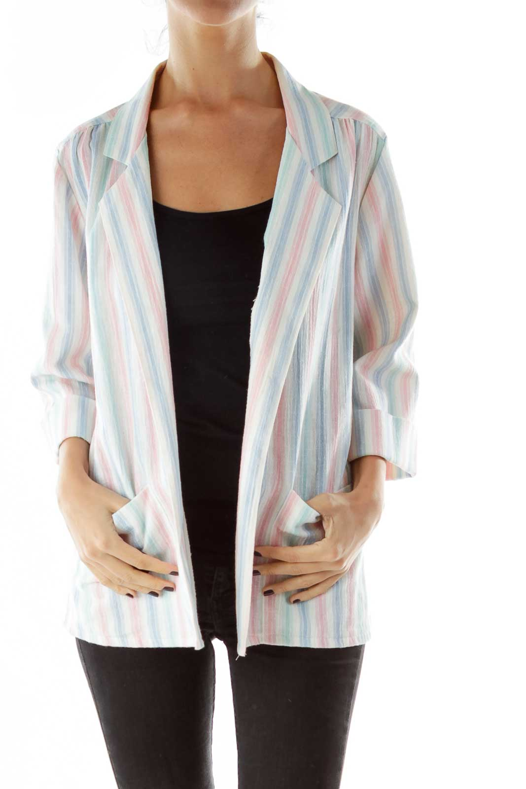 White Pink Blue Striped Jacket Front