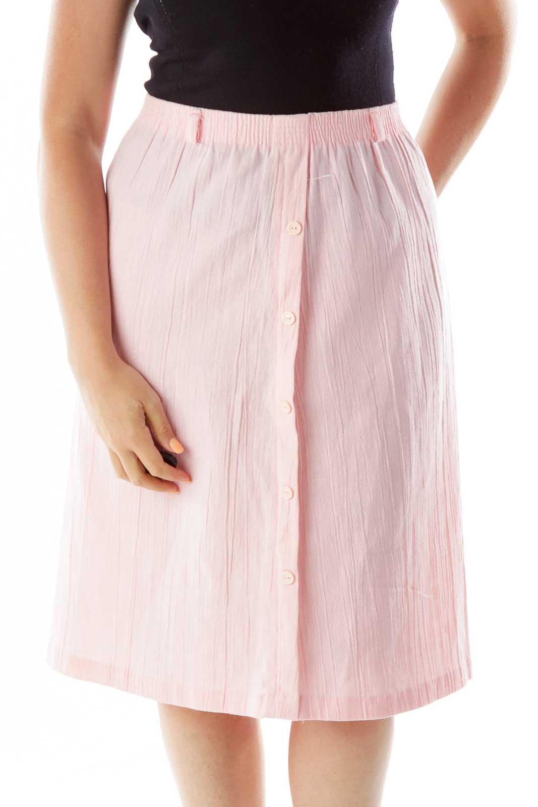 Pink Flared Knee Length Skirt Front