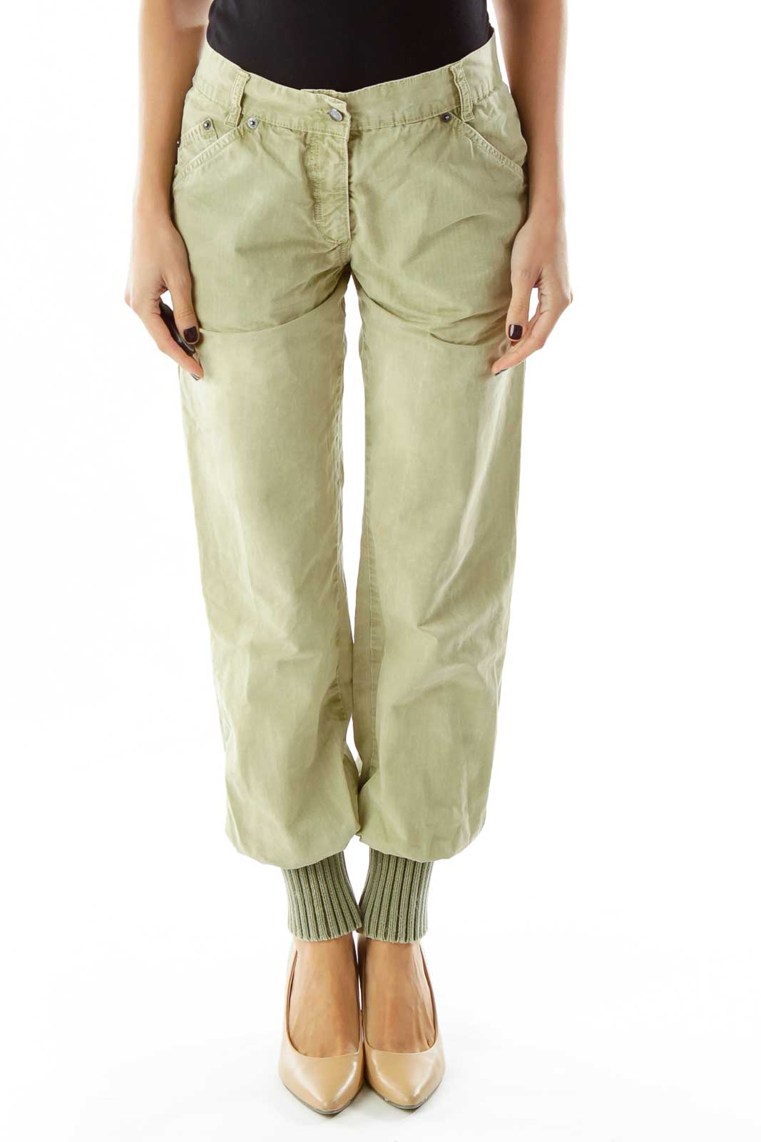 Light Green Tapered Cargo Pants Front