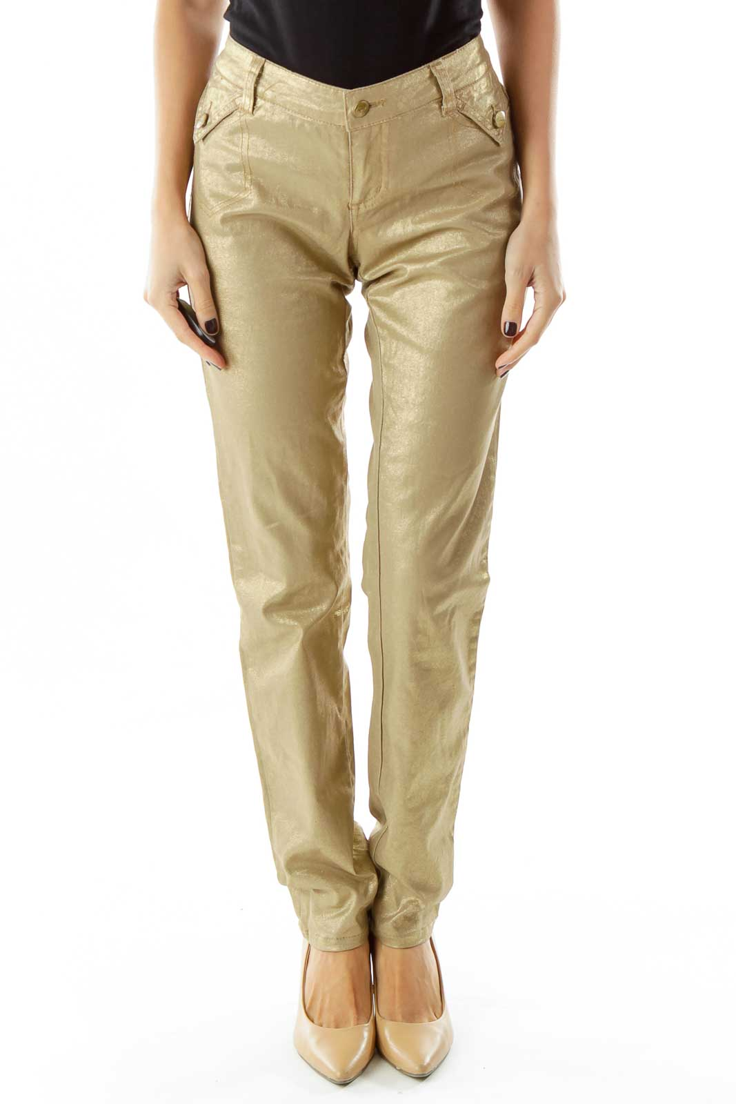Gold Shiny Skinny Jeans Front