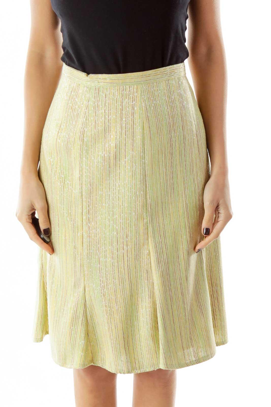Green Yellow Striped Midi Skirt Front