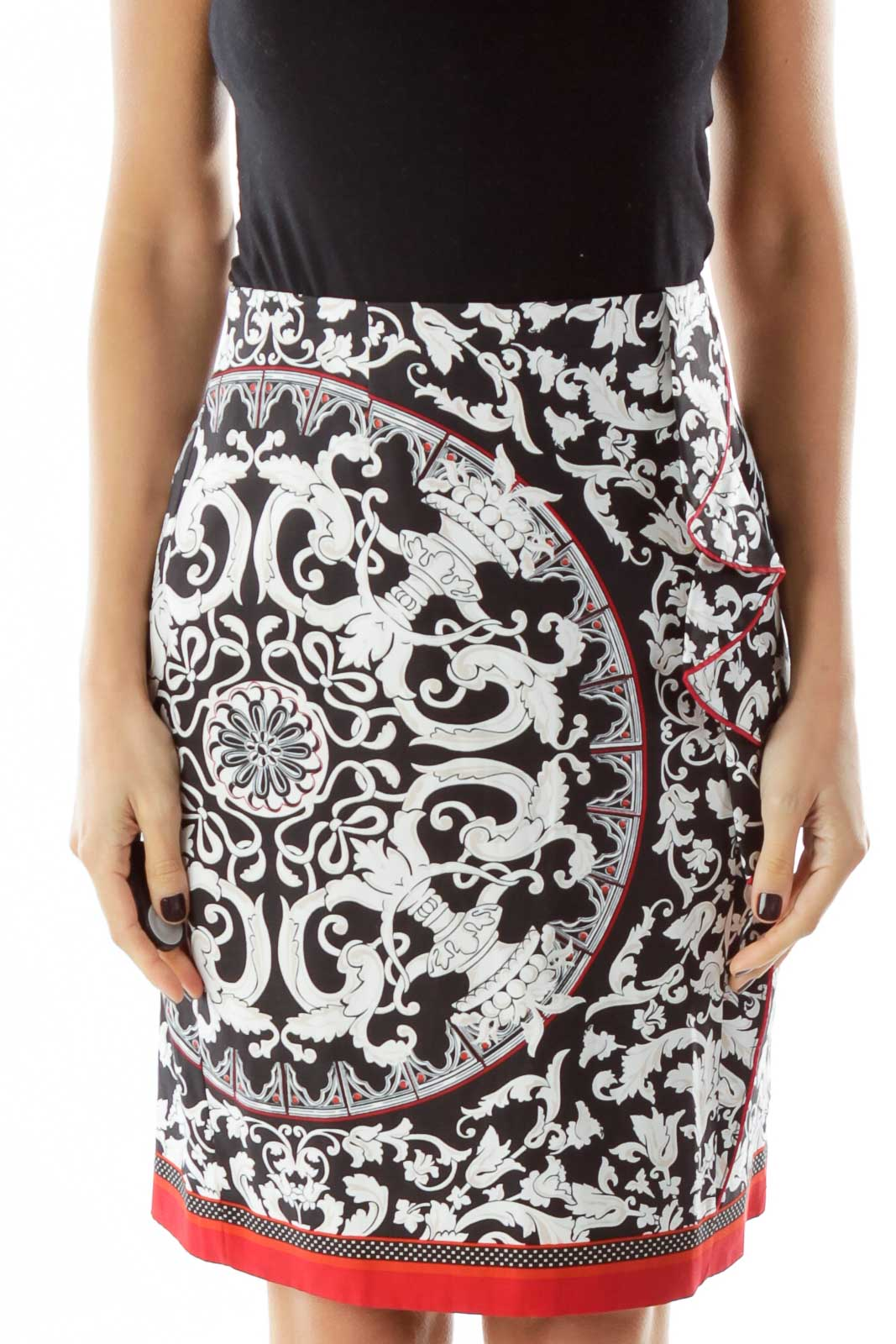 Black/Red Printed A Line Midi Skirt Front