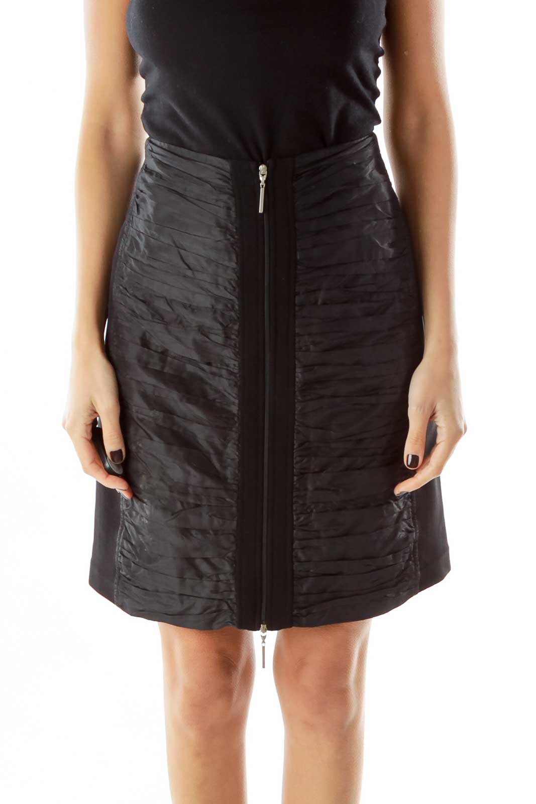Black Scrunched Zippered SiIlk Skirt Front