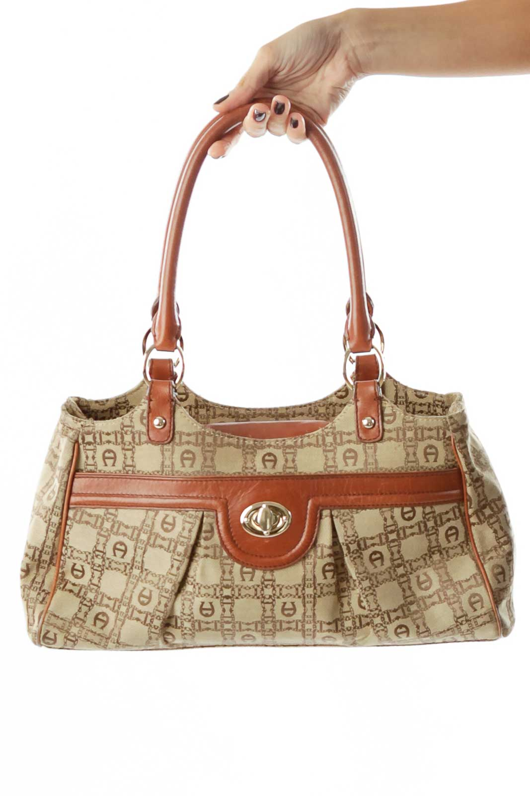 Brown Beige Monogrammed Shoulder Bag Front