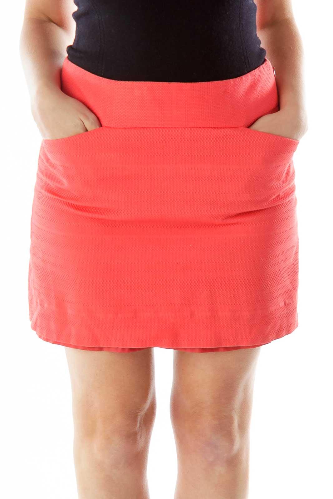 Orange Embossed Pencil Skirt Front