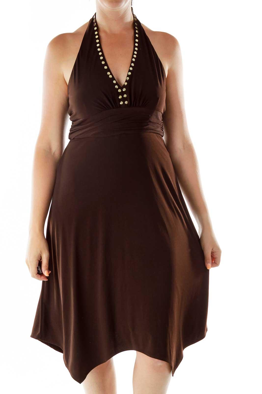 Brown Studded Halter Dress Front